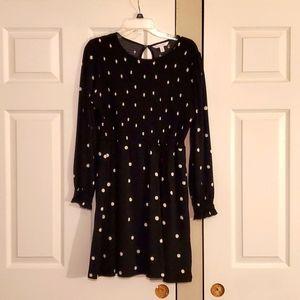 3/$12 Long sleeve polda dot midi dress